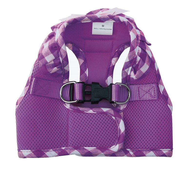 pupteck-checkered-frills-soft-mesh-dog-vest-harness